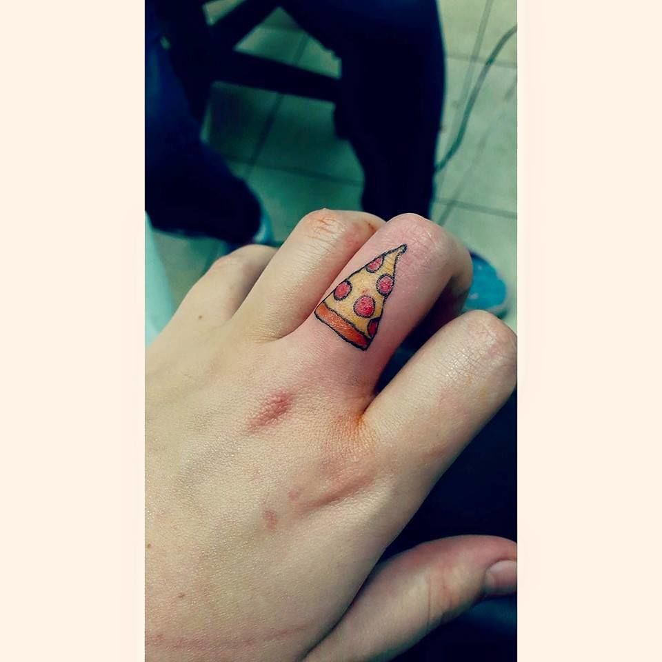 Simple Girl finger Small Pizza Tattoo
