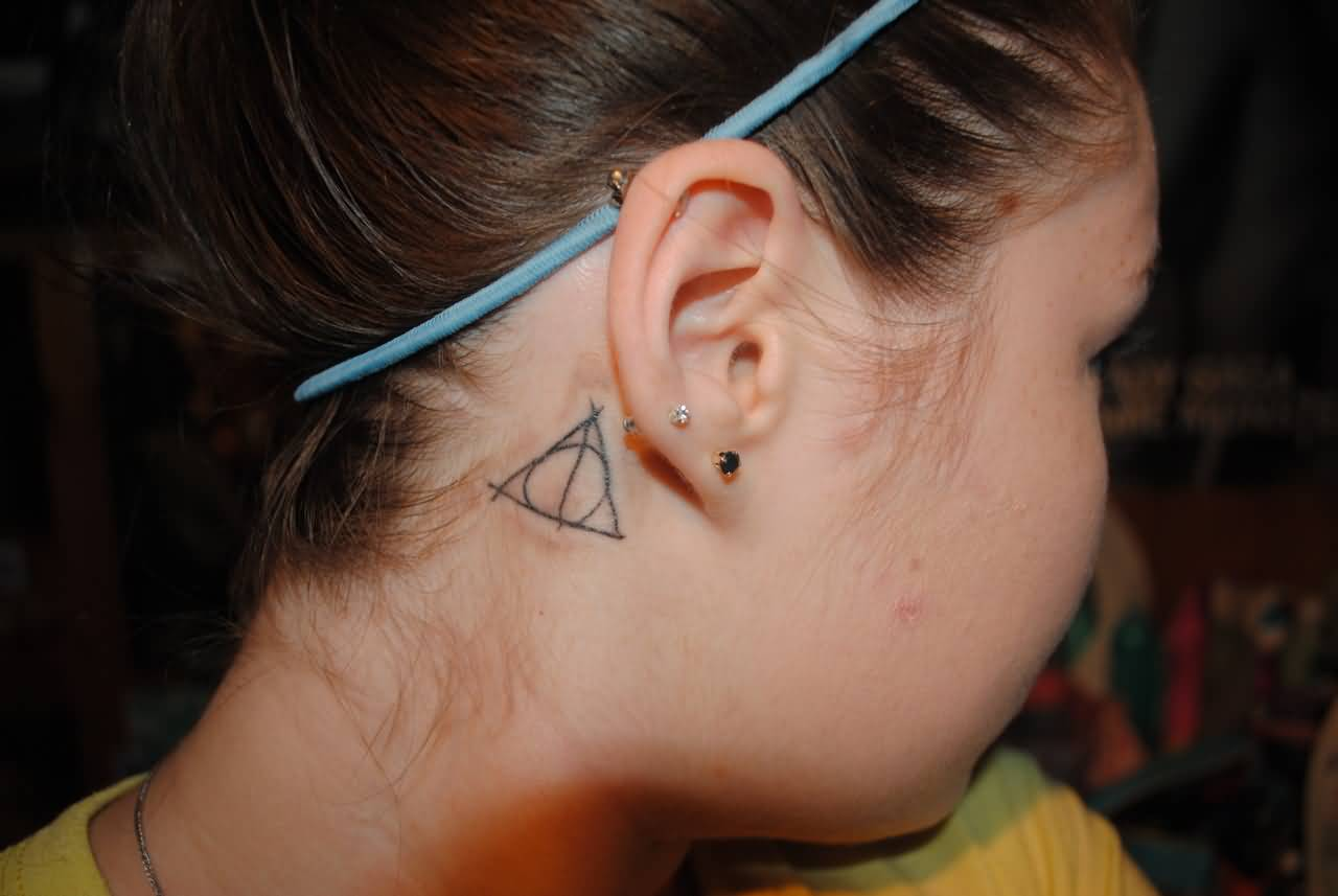 Simple Grey Ink Nice Hallows Tattoo