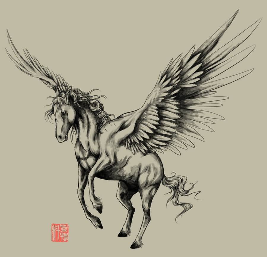 Simple Grey Ink Nice Pegasus Tattoo Design