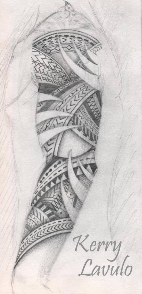 Simple Half Sleeve Samoan Tattoo