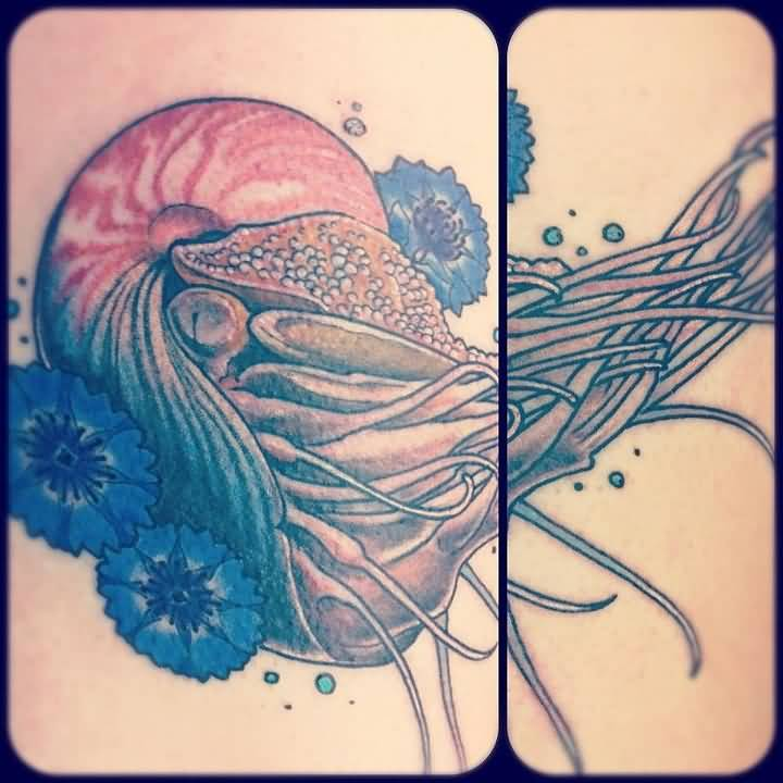 Simple Jellyfish Sea Creature Tattoo Stencil