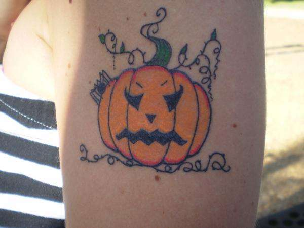 Simple Lantern Jack O Tattoo Make On Shoulder