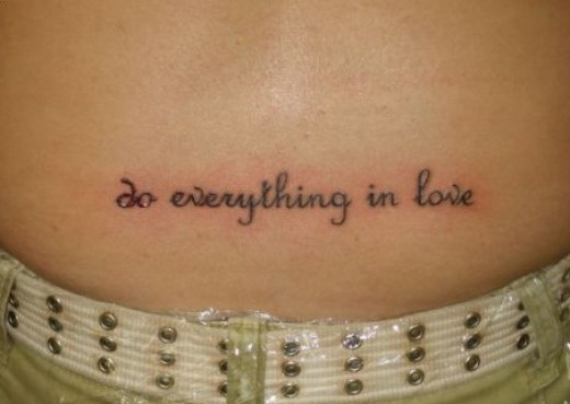 Simple Love Short Quote Tattoo On Girl Lower Back