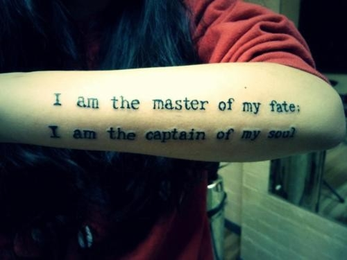Simple Lower Sleeve Nice Poem Tattoo