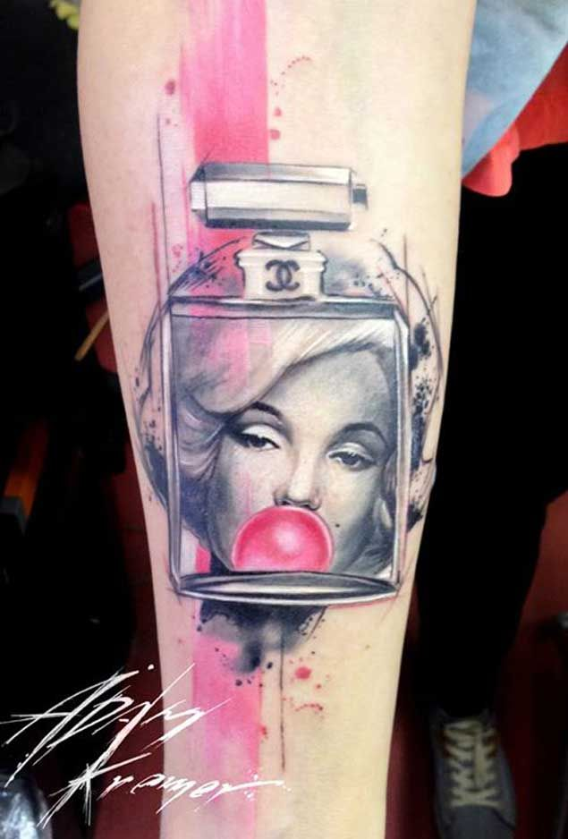 Simple Marilyn Monroe Tattoo Design With Bubble Gum Design With Bottle