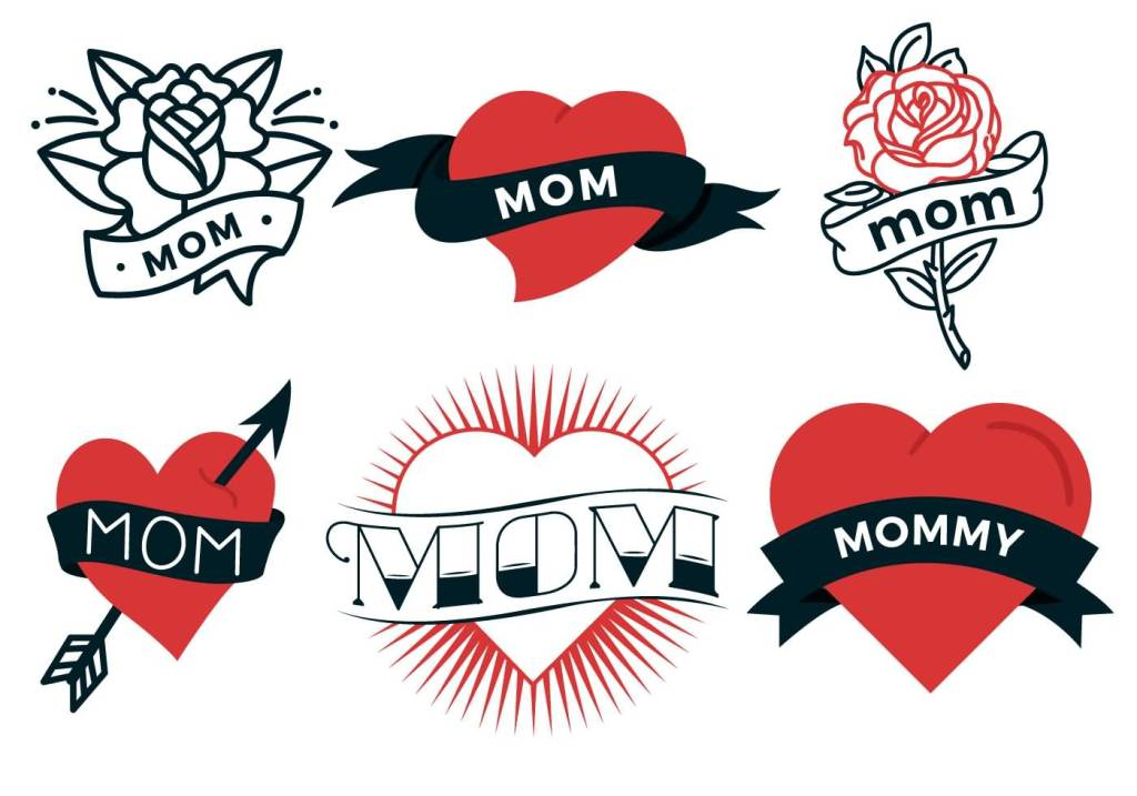 Simple Mom Banner Love Heart Tattoo