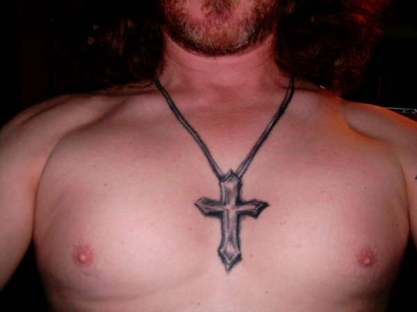 Simple Necklace Cross Tattoo