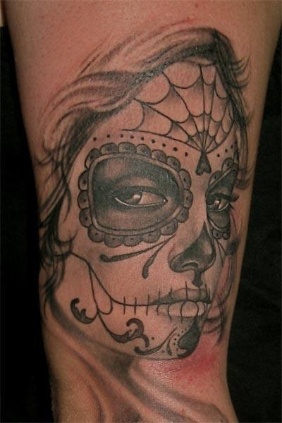 Simple Nice Catrina Tattoo For Sleeve