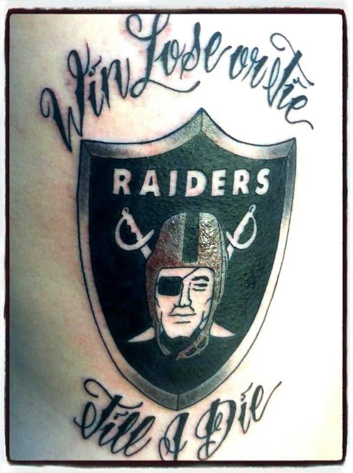 Simple Oakland Raiders Logo WithText Black Ink Tattoo