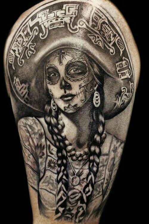 Simple Old Trend Catrina Girl Tattoo Design Idea