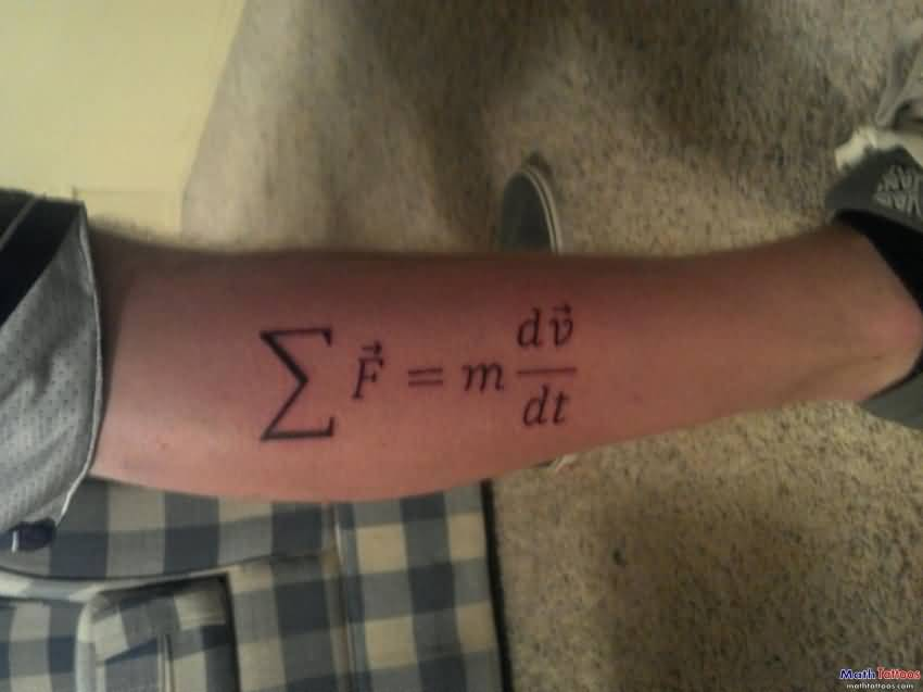 Simple Physics Newton Second Law Tattoo On Leg