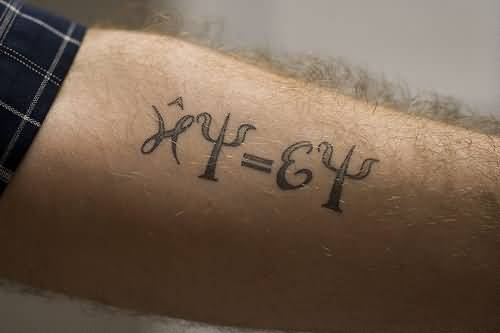 Simple Physics Schrodinger Equation Tattoo Design For Men Sleeve
