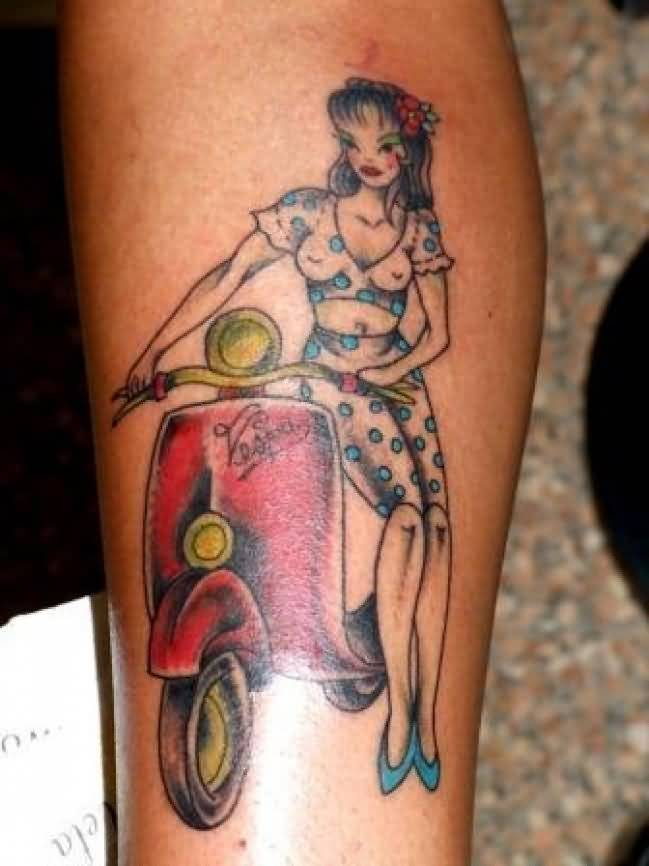 Simple Pin Up Girl Sit On Old Vespa Scooter Tattoo On Leg