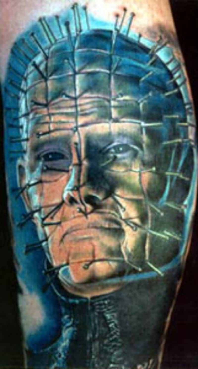 Simple Pinhead Portrait Face Tattoo