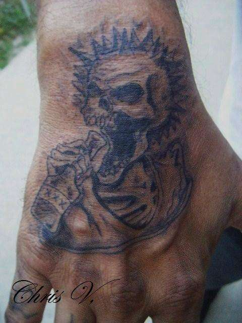 Simple Punk Skull Hand Tattoo
