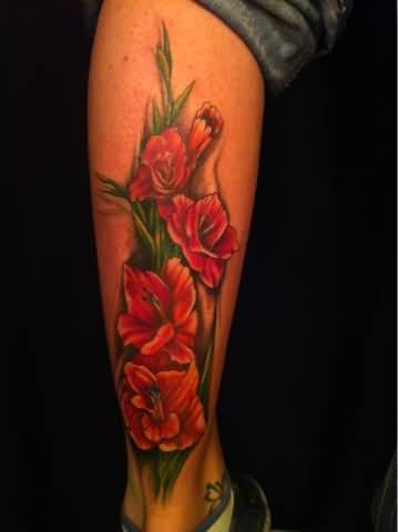 Simple Red Gladiolus Flower Tattoo Design