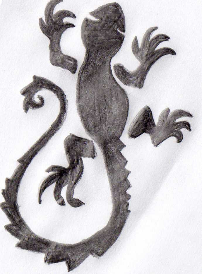 Simple Salamander Tattoo Design Stencil By Grey Ink