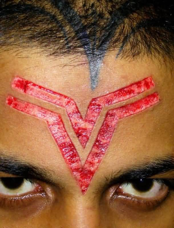 Simple Scarification Symbol Tattoo Design Idea Make On Head