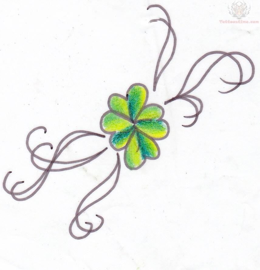 Simple Shamrock Tattoo Design Stencil