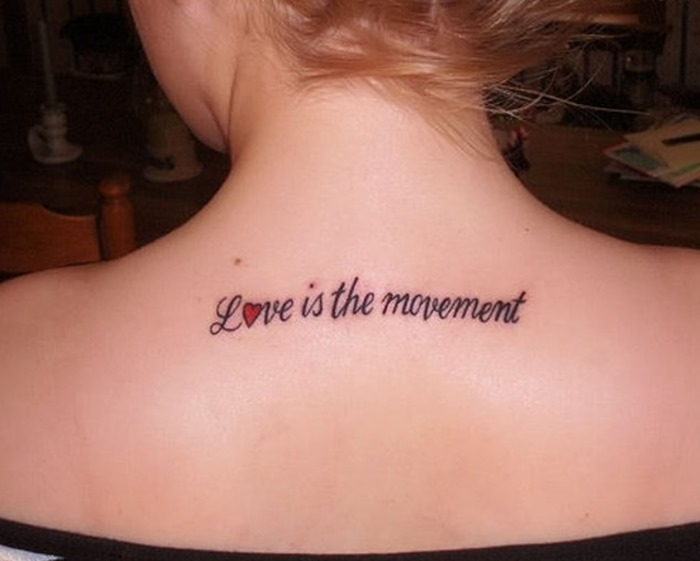 Simple Short Love Quote Tattoo On Upper Back