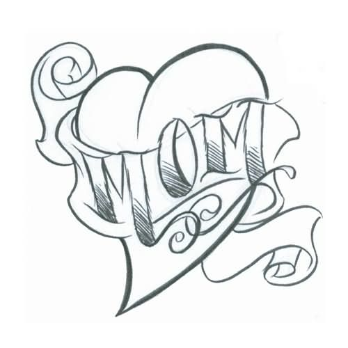 Simple Sketch Of Love Heart Mom Text Tattoo