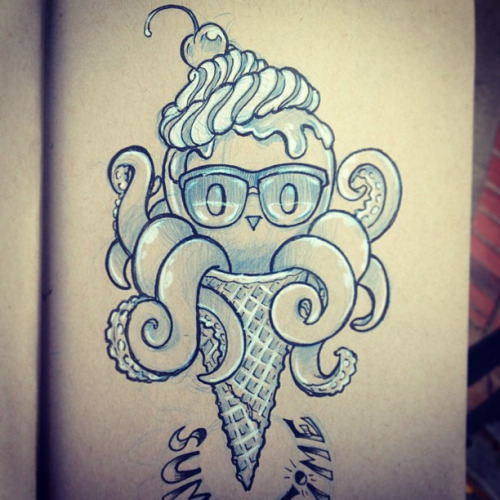 Simple Sketch Of Nice Ice Cream Cone Tattoo