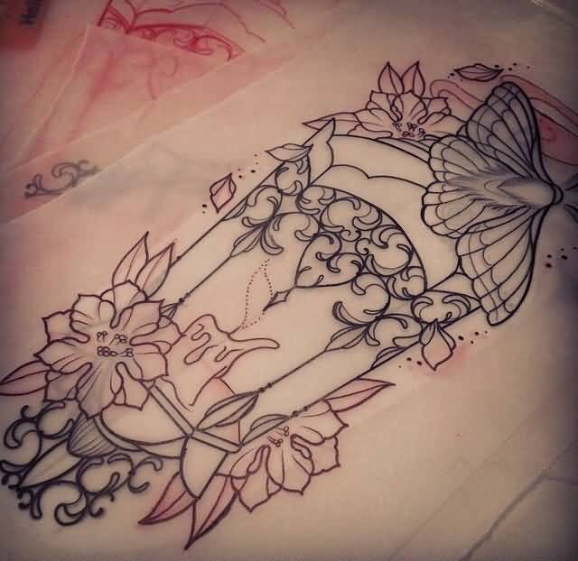 Simple Sketch Of Nice Lantern Tattoo Design With Flower