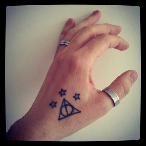 Simple Stars Amazing Hallows Tattoo On Side Hand