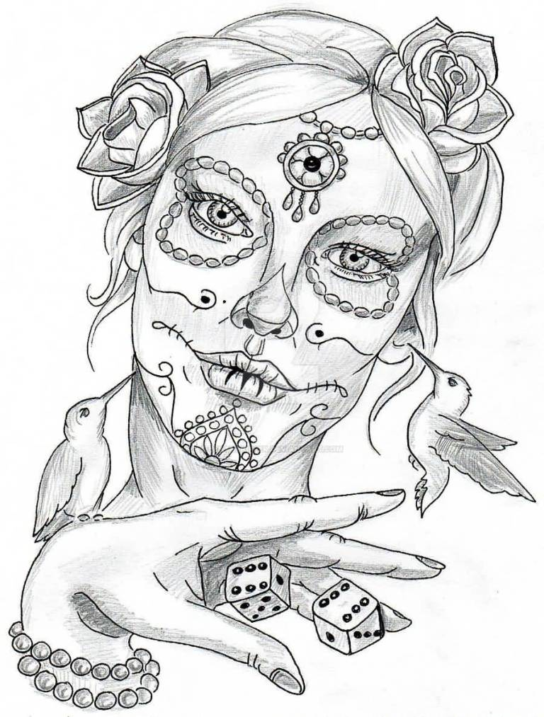 Simple Stencil Of Catrina Tattoo Sketch
