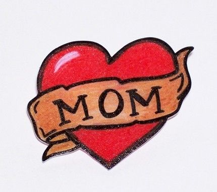 Simple Stencil Of Love Heart Mom Banner Tattoos