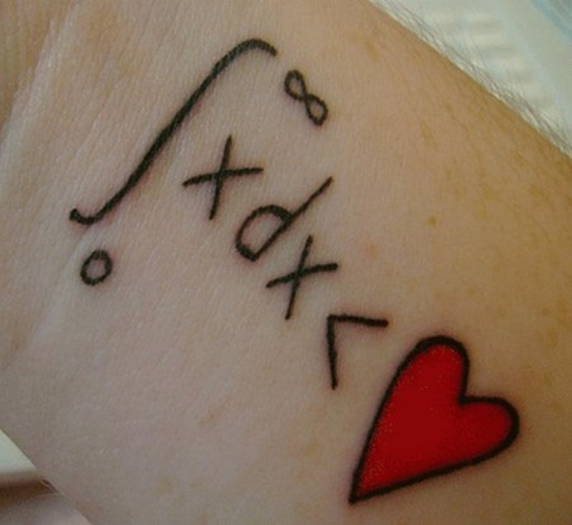 Simple Text Love Heart And Letter Tattoo