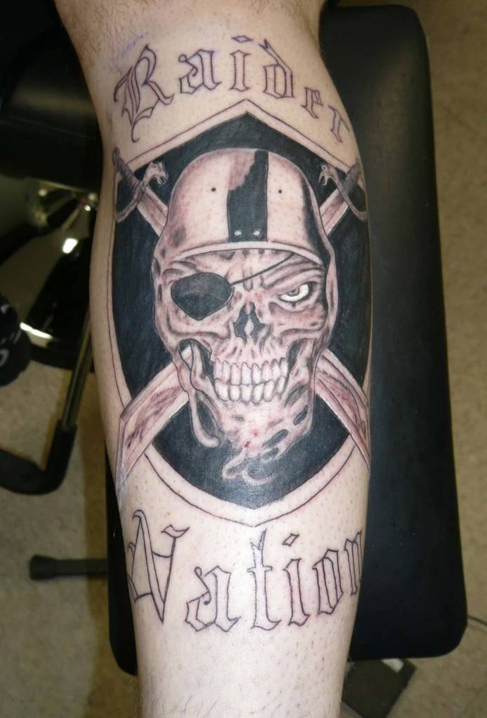 Simple Text Oakland Raiders Skull Tattoo