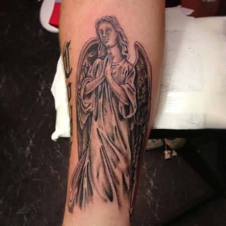 Simple Text With Nice Sad Praying Angel Tattoo