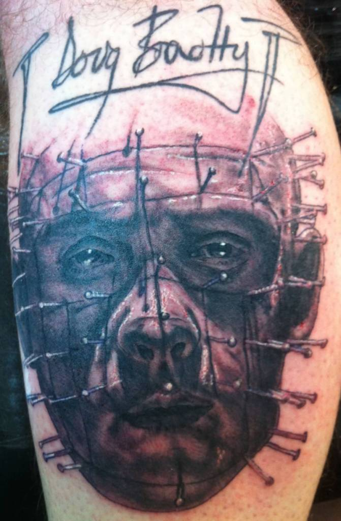 Simple Text With Pinhead Tattoo Design