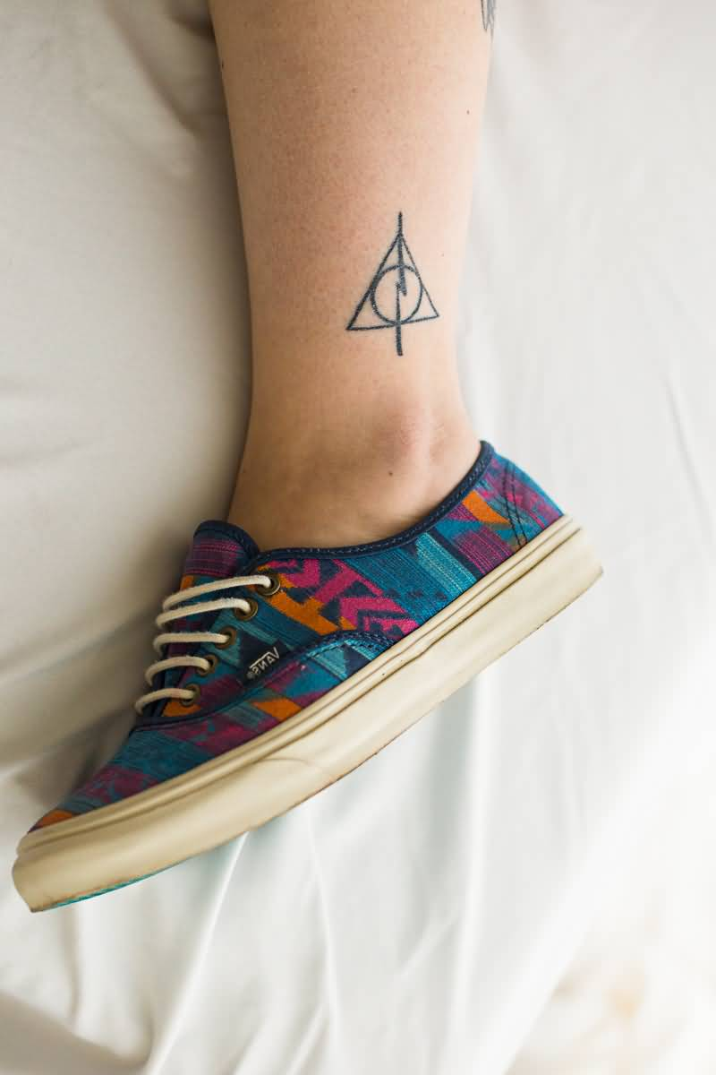 Simple Thunder Sign Amazing Deathly Hallows Tattoo
