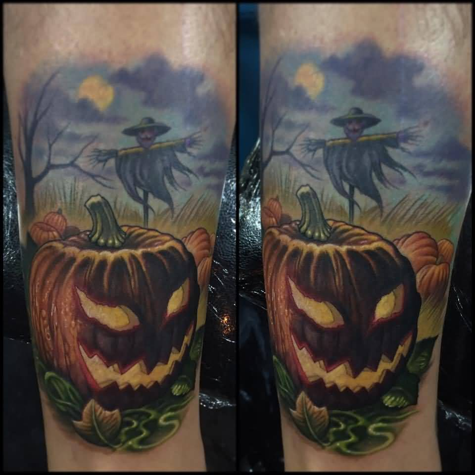 Simple Tree And Nice Jack O Lantern Tattoo