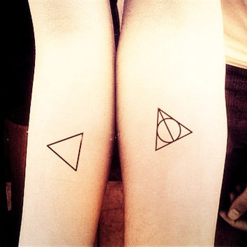 Simple Triangle With Deathly Hallows Tattoo Of Symbol