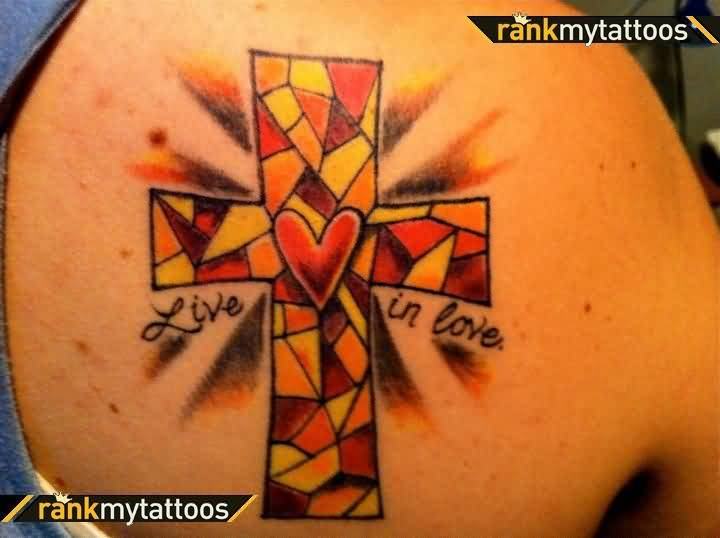 Simple Upper Back Nice Mosaic Cross And Small Heart Tattoo