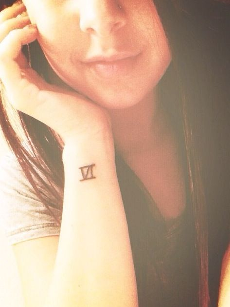 Six Roman Numner Tattoo Design On Girl Wrist