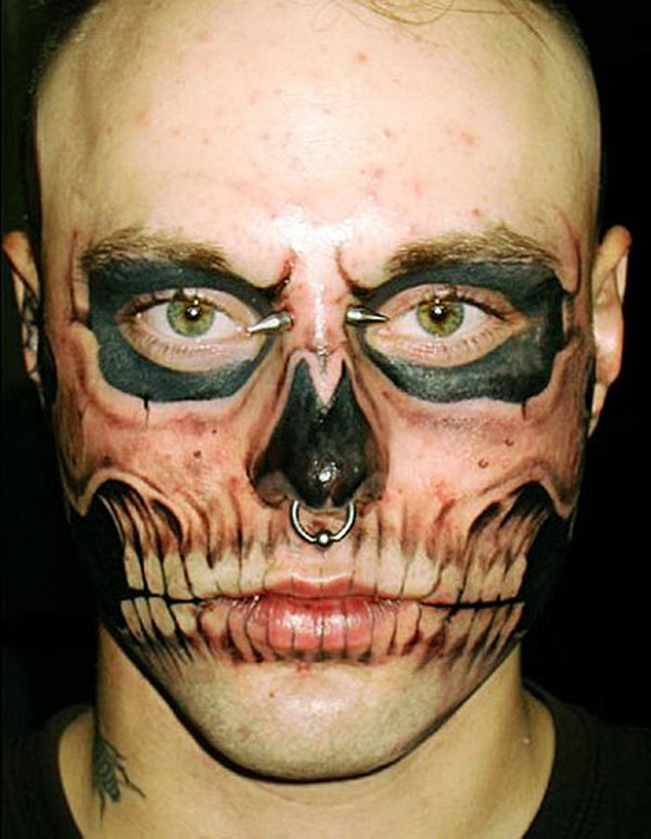 Skeleton Face Extreme Tattoo
