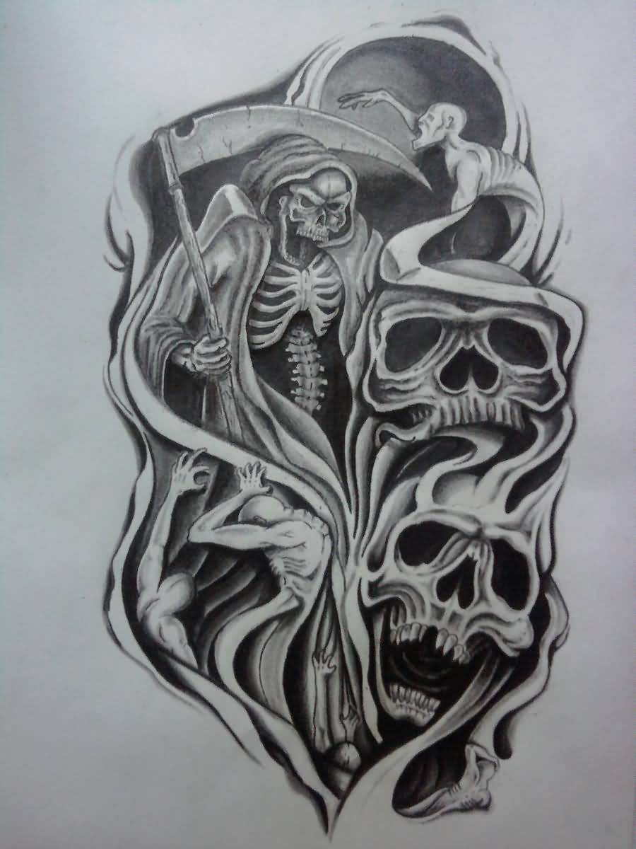 Skeleton Skull Latino Scary Tattoo