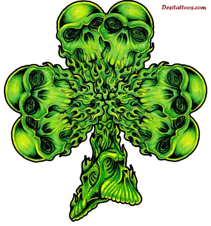 Skiull Flaming Cross Shamrock Tattoo