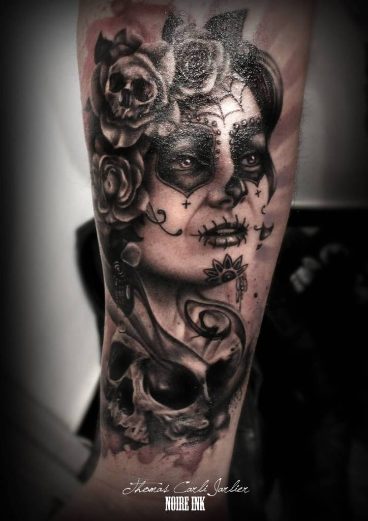 Skull And Awesome Catrina Girl Face Forearm Tattoo By Thomas Carli Jarlier