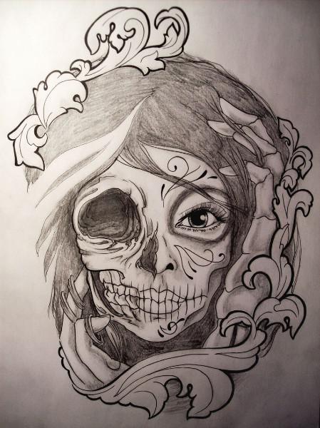 Skull Catrina Girl Face Tattoo Stencil