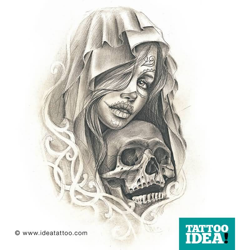 Skull Catrina Girl Tattoo Drawing