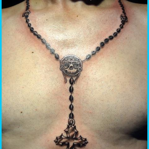 Skull Chain Rosary Cross Necklace Tattoo For Men