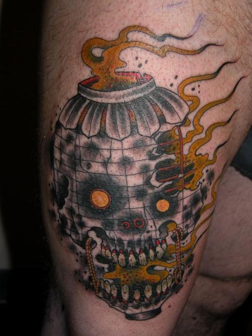 Skull Flame Lantern Tattoo