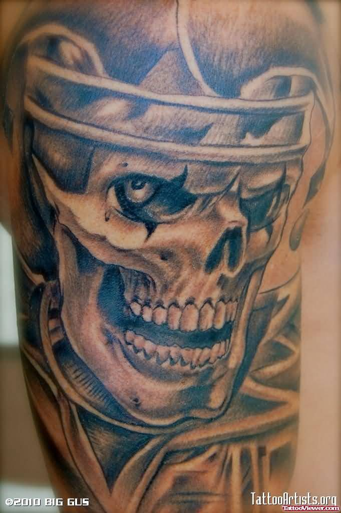 Skull Gangsta Half Sleeve Tattoo