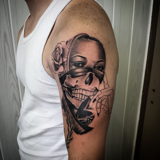 Skull Girl Face With Rose Gangsta Tattoo On Half Sleeve