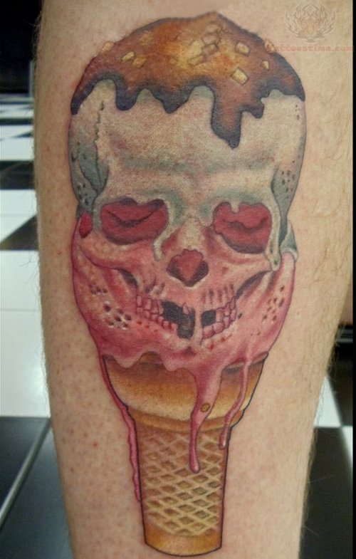 Skull Ice Cream Cone Tattoo (2)